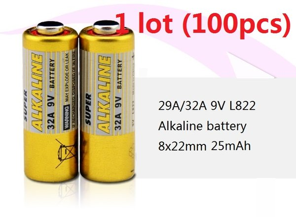 100pcs 1 lot 32A 29A 9V 32A9V 9V32A 29A9V 9V29A L822 dry alkaline battery 9 Volt Batteries Free Shipping