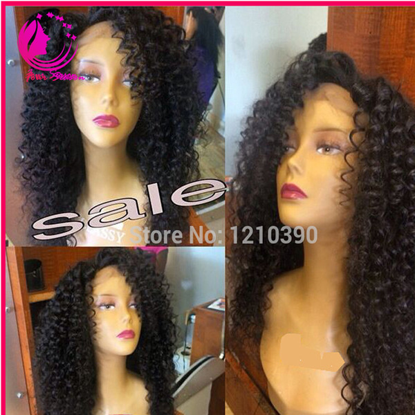 Malaysian Kinky Curly Silk Top Full Lace Wigs With Natural Hairline Free Style 4x4 Silk Base Glueless Lace Wigs