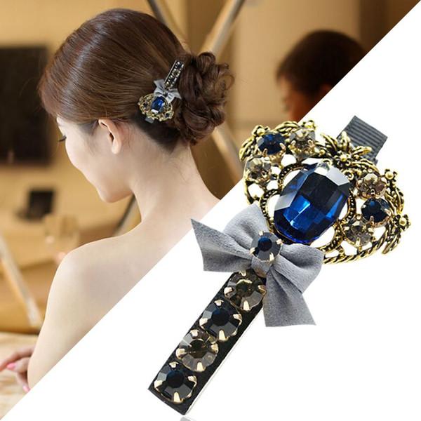 Woman headdress hair Colorful plaid (jewelry) beautiful hair Korea head ornaments imitation diamond hairpin cross clip A0429