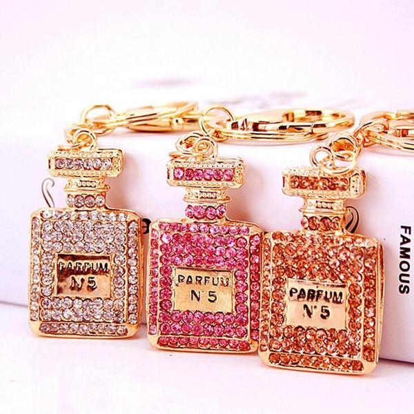 Charm Perfume Bottle Keychains Crystal key ring Keyrings For Car HandBag Pendant Purse bag Key Chain Women Party Gift