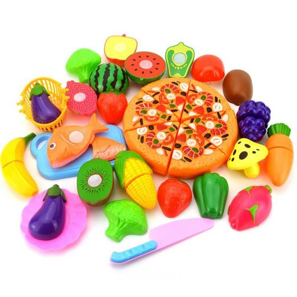 24Pcs Plastic Fruit Vegetable Kitchen Cutting Toy, Cutting Early Development and Education Toy for Baby Kids Children