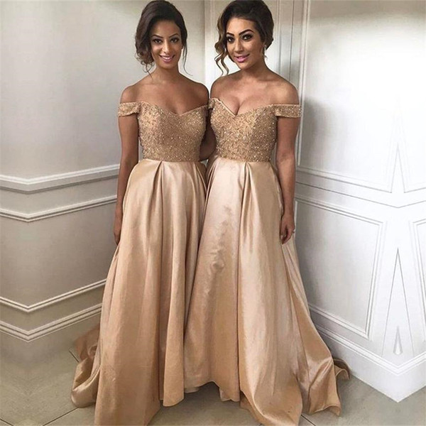 Gold Sequins Beads V Neck Long Satin Bridesmaid Dresses Off the Shoulder Champagne Party Formal Dress vestidos formatura