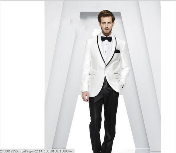 Custom Made Shawl Collar White Men Suits Best Men Wedding Suits Groom Tuxedos Casual Dinner Prom Dress (Jacket+Pants+Ti.