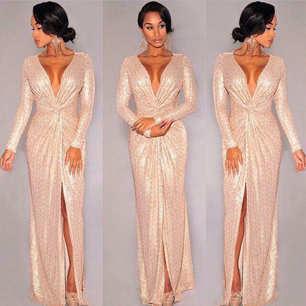 2018 Sheath Long Evening Dresses Rose Gold Sequined Front Split Long Sleeves Special Occasion Gown Sexy Deep V Neck Prom Dress
