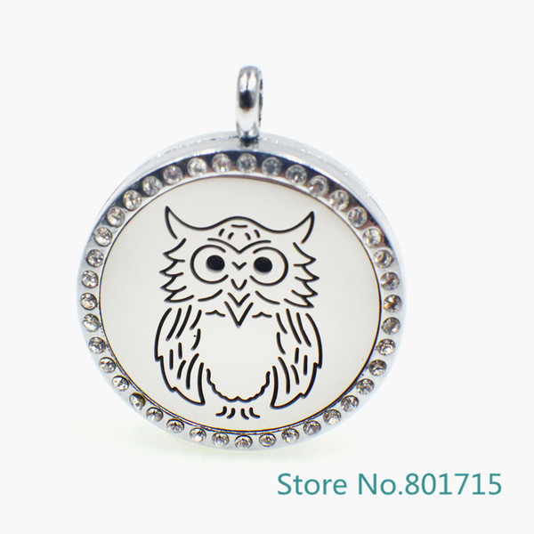 "XX030 magnetic stainless steel ""Owl"" essential oil diffusing necklace aromatherapy locket (Felt Pads & Chain freely)"