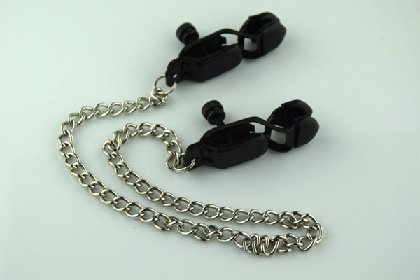 Free shipping New Metal Silver Adult BDSM Sex Toy Fantasy Clamps Clips With Ring with Chain Fetish For Women 5454