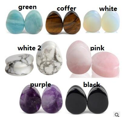 top popular 12MM New stone waterdrop Plugs seven colors can choose shipping free 2021