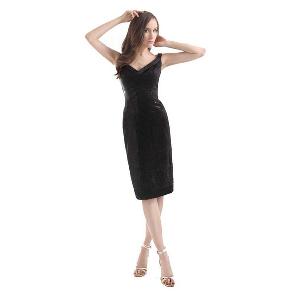 Fashion Ladies Night Club Dresses Black Sequin Knee Length Party Dress Sheath Design Attractive V-neck 2017 Gown