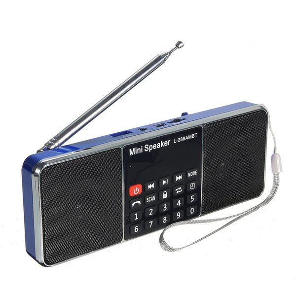 Wholesale-New Bluetooth Portable LCD FM/AM Radio Stereo Speaker MP3 Music Player Micro for SD USB Dual Loudspeaker