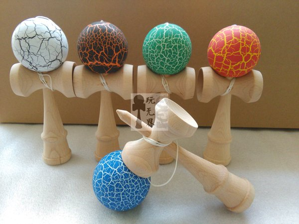 50pcs 18.5cm high Ball crack Paint Kendama beech wood kendama Ball Skillful Juggling Game Ball Japanese Traditional Toy Ballsgifts Free DHL