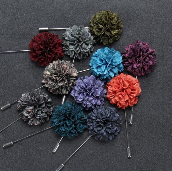 Men Suit Brooch Pins Lapel Flower Pluripetalous Floral Corsage Boutonniere Stick 11 Colors for Wedding Party Dress Accessories