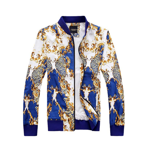 Wholesale- 2016 Autumn New Fashion Boutique Mens Jackets and Coats Slim Fit Printed Luxury Mens Jacket Stand Collar Overcoat 4XL 5XL