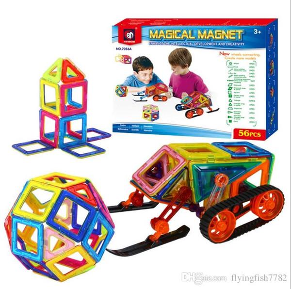 56pcs Magnetic Building Blocks Puzzle Rainbow colors Magnet Block Toys Vehicle set Creater Carnival Set Christmas Gift for Boys DHL ship
