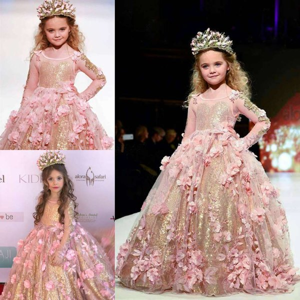 best selling Gold Sequined Ball Gown Girls Pageant Dresses Long Sleeves Toddler Flower Girl Dress Floor Length 3D Appliques First Communion Gowns