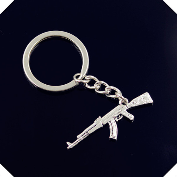 new-fashion-men-30mm-keychain-DIY-metal-holder-chain-vintage-machine-gun-assault-rifle-ak-47 key rings