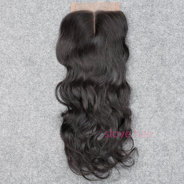 "Slove Rosa Hair Silk Base Closure Wet And Wavy Hair Peruvian Virgin Water Wave 6a Remy Hair 10""-20"" Free Shipping Bleached Knots"