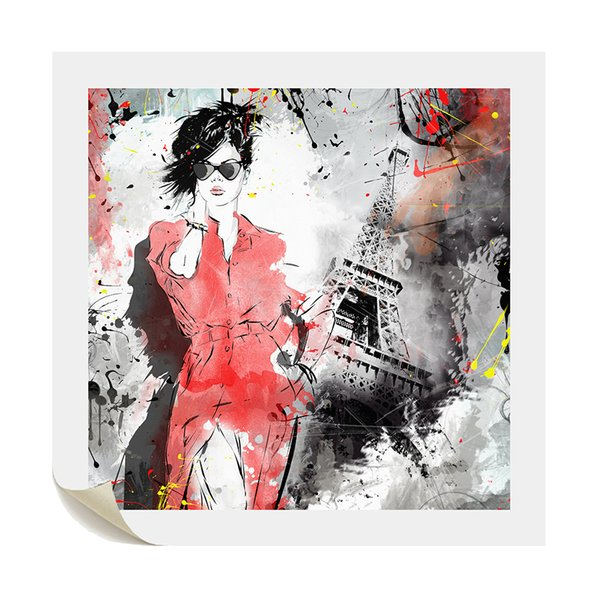 1 Pieces Vogue Girl Painting Canvas Poster Impression of Paris DIY Canvas Printing Art for Bed Room Decor Unframed 60cmx60cm
