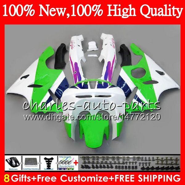Cuerpo para para KAWASAKI NINJA ZX636 ZX6R 94 95 96 97 ZX-6R Verde blanco Carrocería HM.25 ZX-636 600CC 636 ZX 6R 1994 1995 1996 1997 Kit de carenado