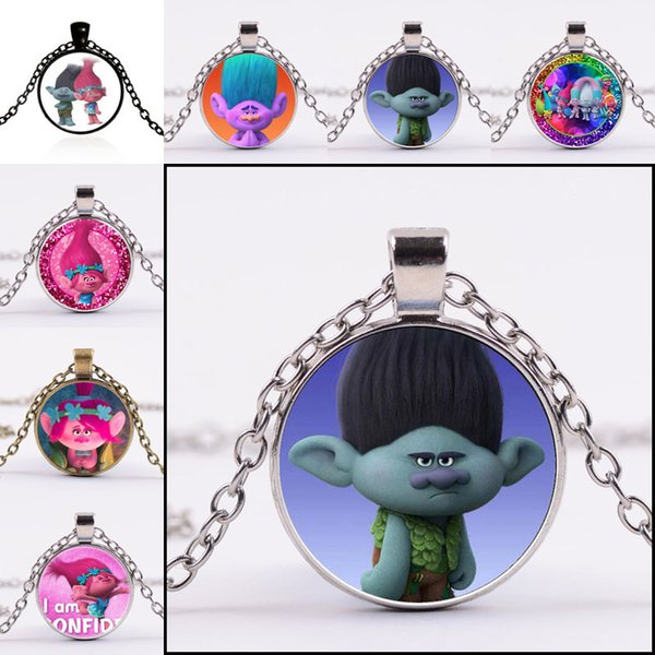 64 type Trolls Poppy Time Gem glass Cabochon Necklace dome Necklaces Pendants for Women Children Jewelry Gift 161794