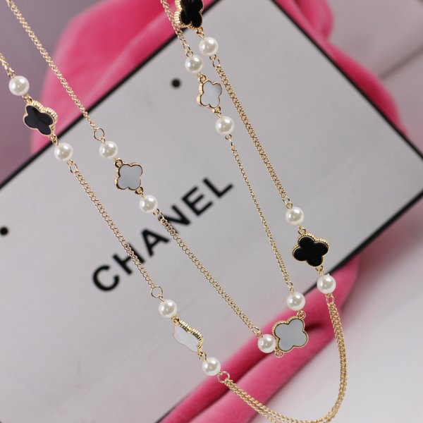 Brand-new Wholesale Popular Brand Women Sweater Necklace Clover Design Long  IK34
