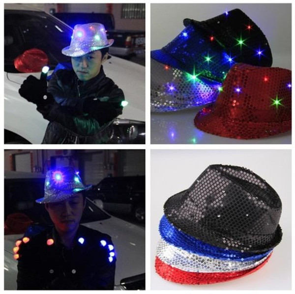top popular mixed color Flashing Light Up Led Fedora Trilby Sequin Unisex Fancy Dress Dance Party Hat LED Unisex Hip-Hop Jazz Lamp Luminous Hat free 2021