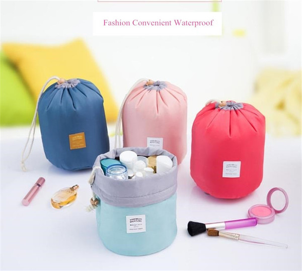 2017 Hot selling Make up bag Barrel Shaped Nylon travel wash bags storage bags waterproof material cosmetic bags big capacity free shipping
