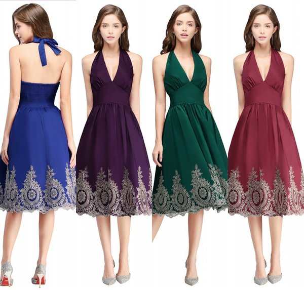 Burgunder kurze Cocktailkleider 2020 V-Ausschnitt rückenfrei eine Linie mit Goldapplikationen knielangen 15 Mädchen Prom Party Kleider CPS570