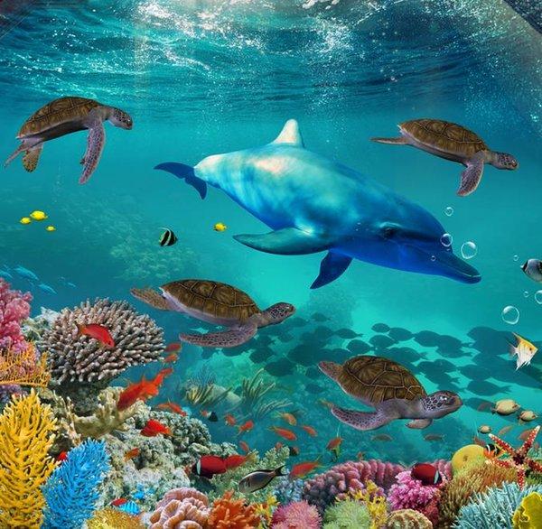 Impermeable Protección del medio ambiente 3d piso personalizar papel de parede Underwater World Turtle Dolphin foto murales del piso 3d fondo de pantalla