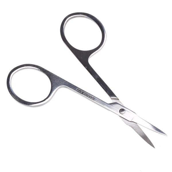 Forbici per sopracciglia di trucco all'ingrosso con testa affilata Utensili per trucco di bellezza per sopracciglia in acciaio inossidabile