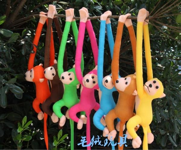 Toptan-70 cm uzun kol maymun kol kuyruk için peluş oyuncak renkli maymun perdeleri maymun dolması hayvan doll çocuklar için hediyeler style209kk