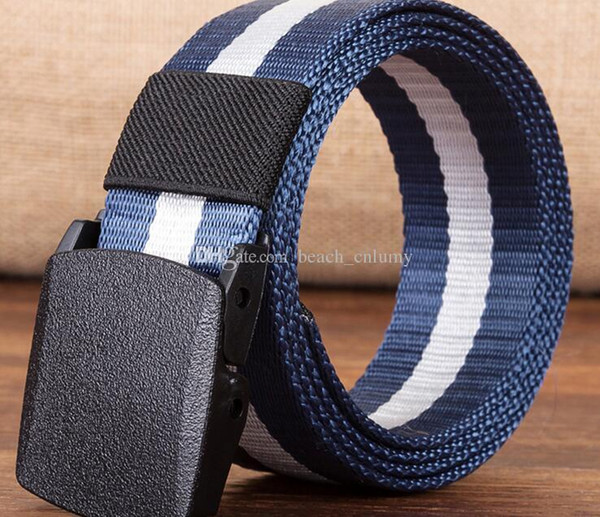 best selling 7 Colors Fashion Canvas belt for men anti-allergic canvas belt outdoor leisure sports woven nylon plastic Buckle belt Accessories new