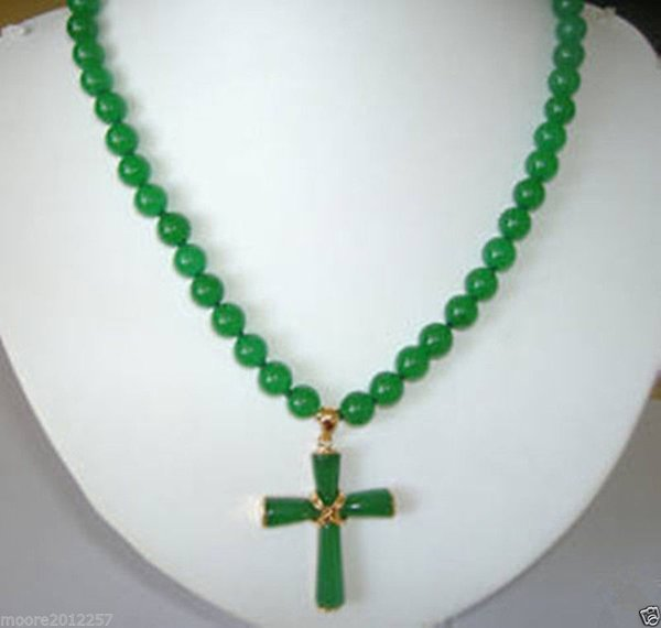 "Pearls and jade Tibetan silver jewelry > Genuine top Beautiful Natural 8mm Beads Green Jade Cross Pendant Necklace 18"""