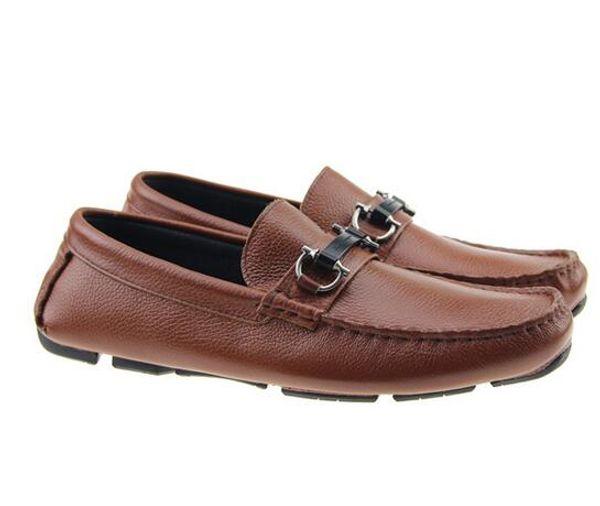 2017 Designer brand male casual flats shoe cowhide leather Slip-on Mocassin Metal Button men's suit shoe Zapatillas 40-46