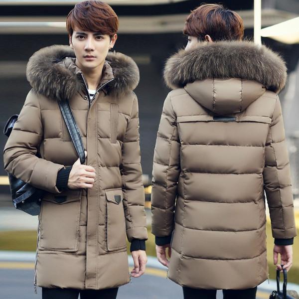 All'ingrosso-Nuovo inverno uomini di marca Piumino Cappuccio di pelliccia Caldo Outwear Plus Size XXXL Inverno Giacca di alta qualità Moda Mens Coat Dimensione vendita calda
