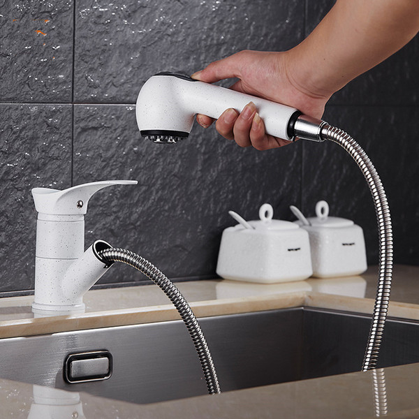 Modern Brass Kitchen Faucet Pull Out Single Handle Swivel Spout Vessel Sink Mixer Tap Tensile basin faucet Hot and cold water tap