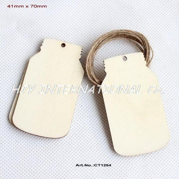 Vente en gros (50pcs / lot) 2,8 inachevé en bois blanc Mason Jar faveur de mariage cadeau Gift Tag Save the Date Laser Cut 70mm-CT1254