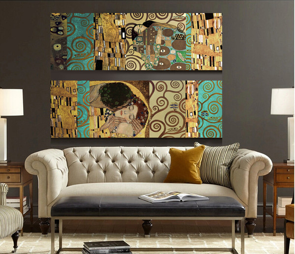 2P Gustav Klimt The Kiss and The Tree of Life,Handpainted Abstract Wall Decor Art Oil Painting,High Quality Canvas size can customized
