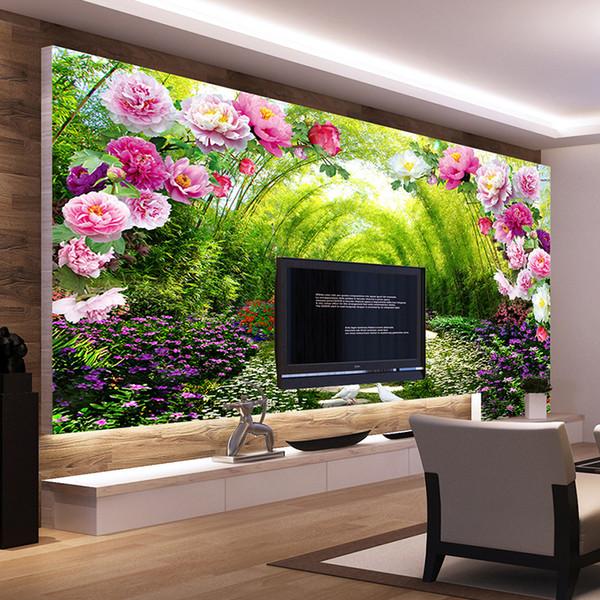 Acheter Personnalisé Murales Non Tissé Impression Mur Papier Peinture Lumineux Peony Fleurs Salon Chambre Décor Papier Peint Pour Murs 3d De 40 92 Du
