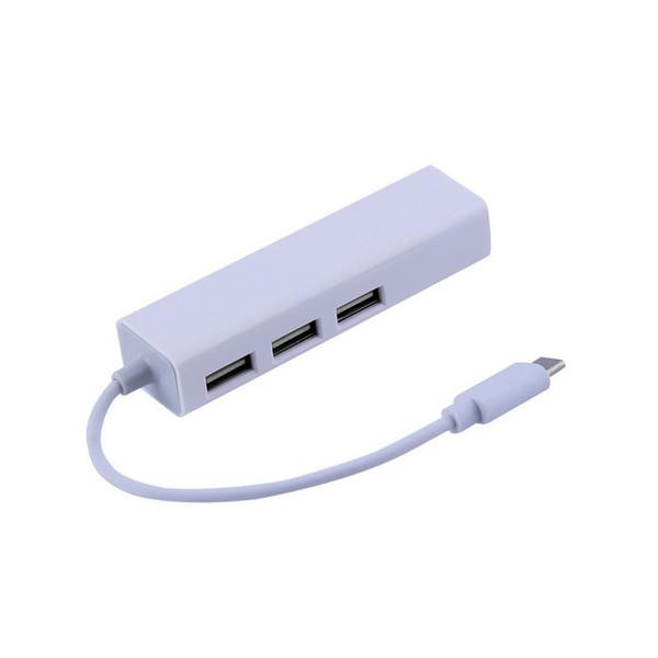 Al por mayor- Caliente Nuevo USB 3.1 Tipo C USB-C Múltiple 3 Puertos Hub con Ethernet LAN Adaptador de red