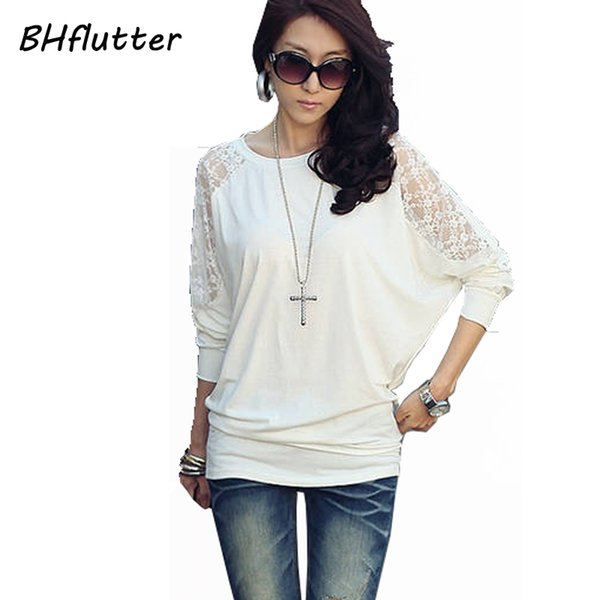 Wholesale-Pull Femme Sweater Women Plus Size Clothing 2016 Long Sleeve Lace Tops Batwing Casual Pullover Women's Sweater and Pullovers