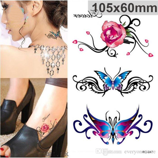 Waterproof Flash Tattoo Sticker Color Butterfly Rose Temporary Tattoo  Stickers Body Art Fake Tattoo Foil Decal Wholesale Custom Temporary Tattoos  For ...