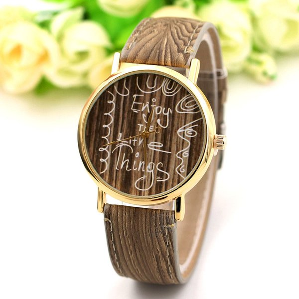 New Design Vintage Wood Grain Watches for Men Women Fashion Quartz Cheap Leather Unisex Casual Wristwatches Gift