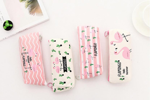 Lovely Flamingo Canvas Pencil Case Gift For Kids Korea Concise Student Woman Small Fresh Zipper Capacity Stationery Cosmetic Bag Wholesale