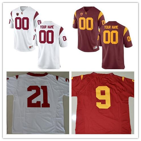 Mens USC Trojans Custom College Football Limited Jerseys #14 #9 #32 #42 #55 Red White Stitched Personalized Any Name Number Jerseys S-3XL