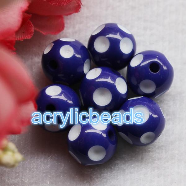50PCS 18MM Factory Chunky Acrylic Gumball Polka Dot Round Resin Beads Plastic Bubblegum Balls Jewelry Making DIY