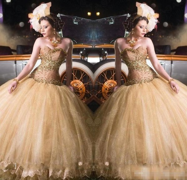 2017 New Gold Sweet 16 Arabic Quinceanera Dresses Ball Gown Sweetheart Sweet 16 Gowns Appliques Ruched Prom Dress Formal Party Gowns Cheap