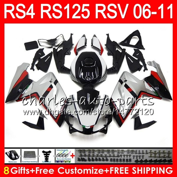 Silver black Body For Aprilia RS4 RSV125 RS125 06 07 08 09 10 11 RS125R RS-125 70NO25 RSV 125 RS 125 2006 2007 2008 2009 2010 2011 Fairing