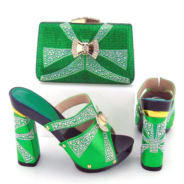 2017 New Africa PU Leather Woman Shoes And Bags Set Hot Sale Fashion Pumps Shoes And Matching Bag Set For Party Gold Color BCH-34