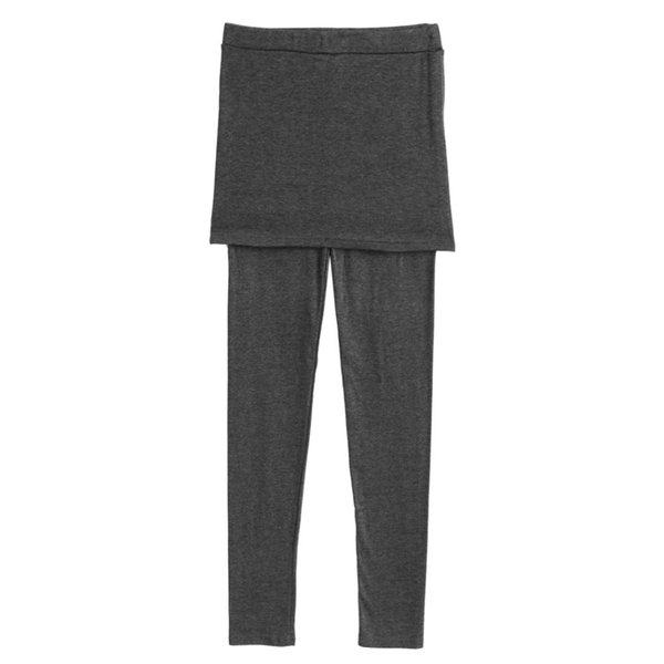 SOLID BLACK STRETCHY LEGGINGS WITH PLEATED SKIRT