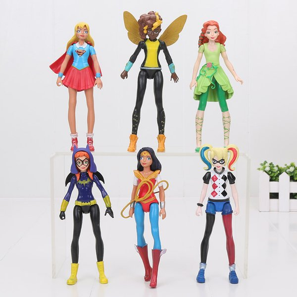 20sets Super Hero Girls Wonder Woman Poison Ivy Harley Quinn Bumble Bee 6 pezzi / set Action Figure